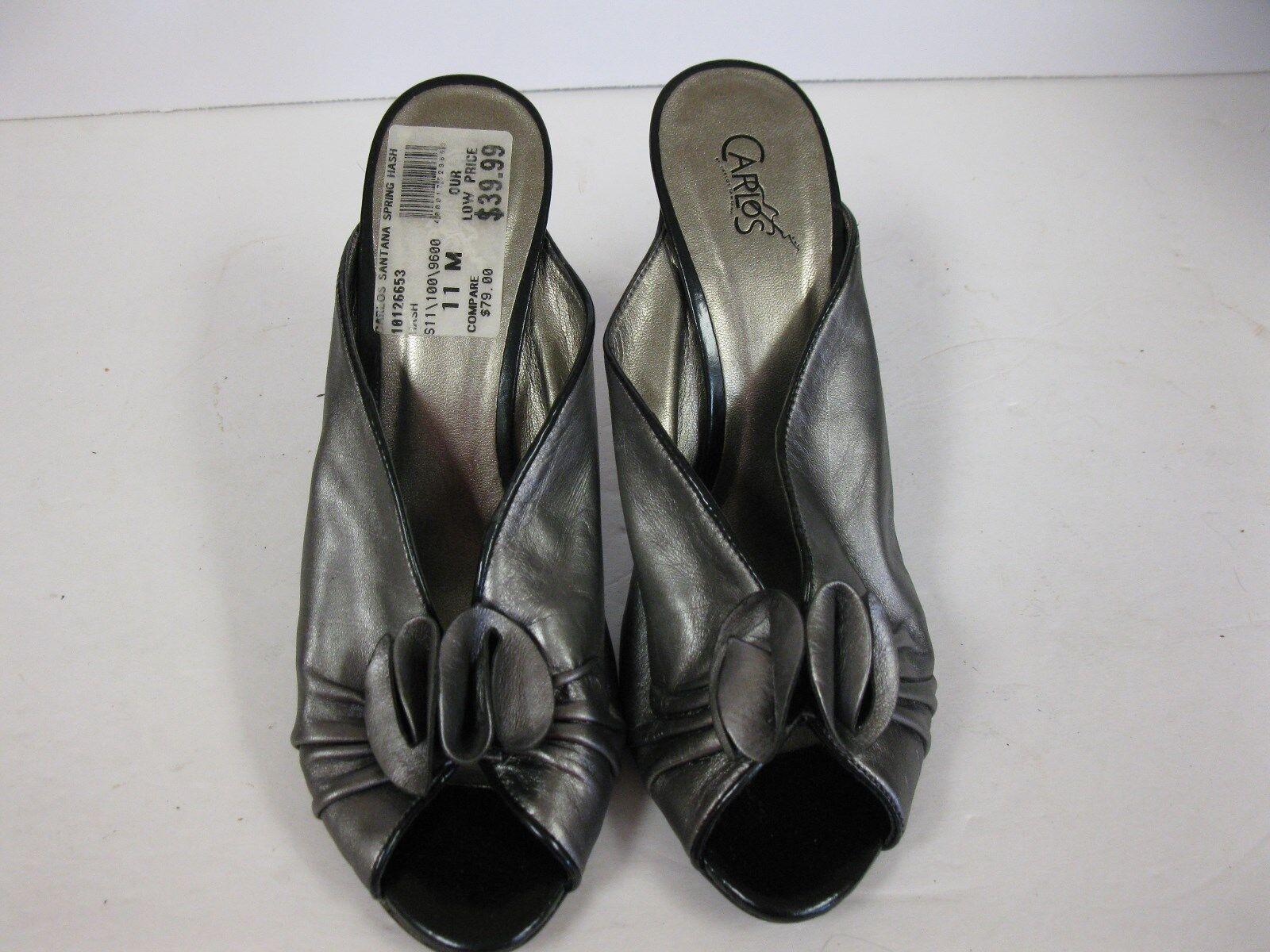 Carlos Santana CLASSY Peeptoe Mules Heels Gray Leder Größe 11M