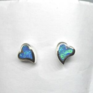 Tiny Blue-Green Opal Sterling Silver Quirky Heart Stud Studs Earrings Pair Pagan