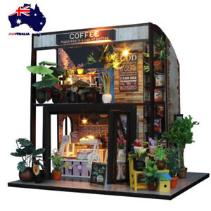 AU DIY Wooden Toy Doll House Miniature Kit Caravan Dollhouse Music LED Lights 692241207388