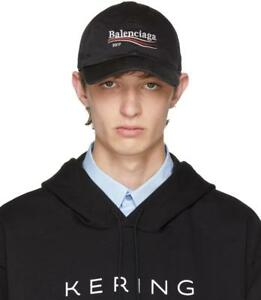 68801d87f841b Image is loading BALENCIAGA-Campaign-Logo-Cap-2017-Black-Political-Baseball-