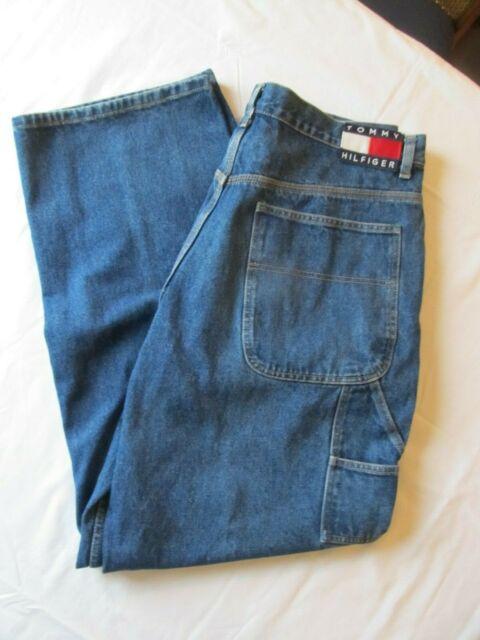Vtg 90s Tommy Hilfiger Carpenter Denim Blue Jeans 36 x 34 Painter High Waisted