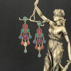 Earrings-Chandelier-Long-Multicolored-Mini-Pearl-Red-Blue-Green-AA26