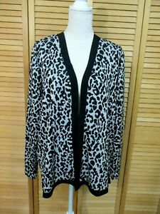 Easywear-By-Chico-039-s-Black-amp-Silver-Animal-Print-Open-Front-Shimmer-Cardigan-3