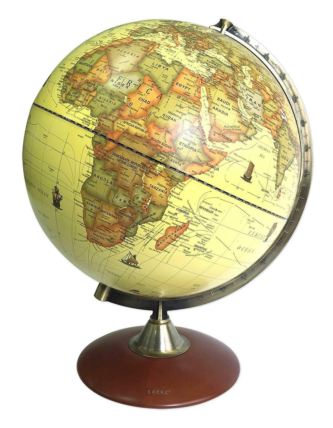 Large 30cm Antique Vintage Style World Globe Traditional Ornament Spinning Spher