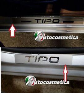 Modanature-Battitacco-Acciaio-Satinato-Logo-Cromo-Fiat-Nuova-Tipo-Made-in-Italy