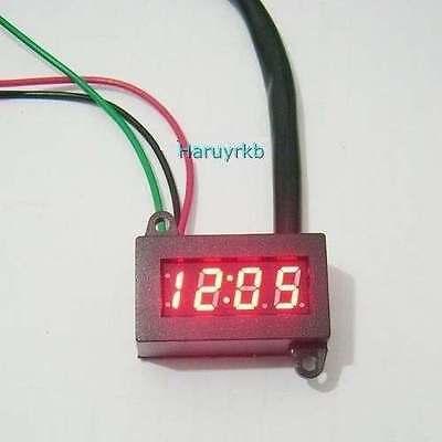 12V wasserdicht Digital Uhr Clock LED-Zeit For Auto-Motorrad-Fahrrad- 12 hours
