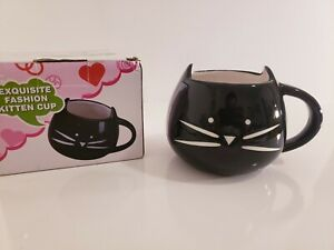Teagas Lovely Cute design Morning Cat Mug,Glossy Black 350ml