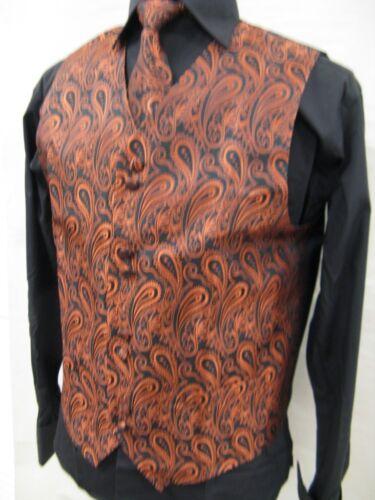 Men/'s Suit Tuxedo Dress Vest Necktie Bowtie Hanky Set Brick Color Paisley Design