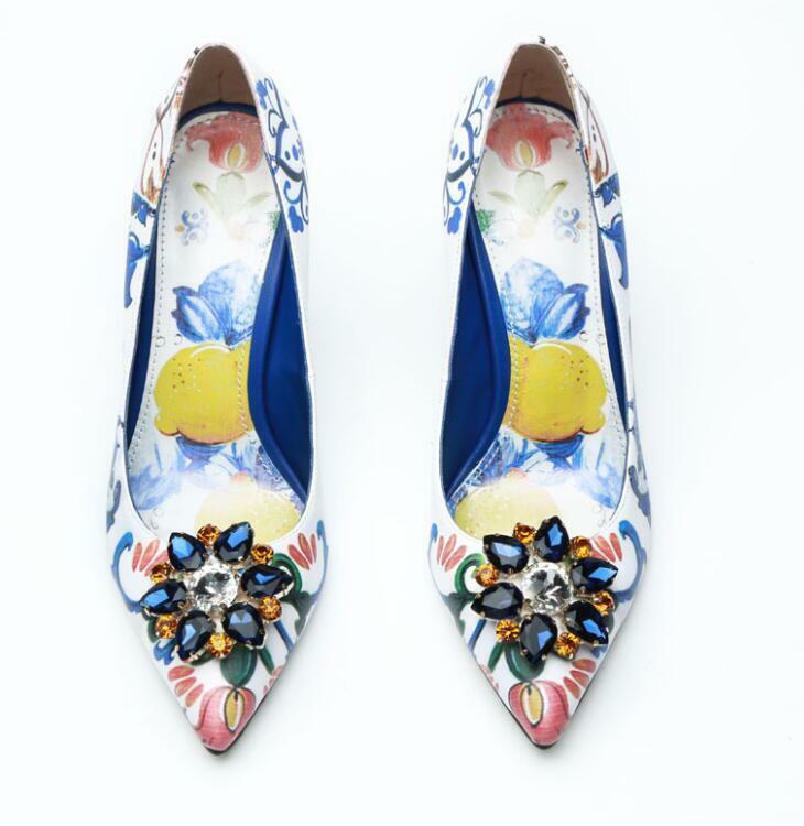 blu-bianca porcelain printed diamond high heels flowers pumps donna leather