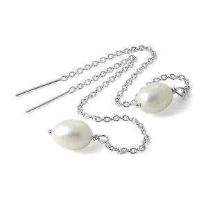 925 Sterling Silver & Pearl Pull Through Belcher Chain Earrings Thru