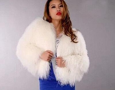 Pop New 100% Real Domestic mongolian lamb fur Coat Sleeve waistcoat jacket coat