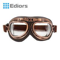 Wwii Raf Vintage Aviator Pilot Copper Motorcycle Half German Helmet Clear Goggle