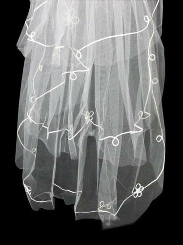 51vs Charming 2T Bridal Ivory White Tulle Loop Embroiderd Wedding Veil w// Comb