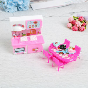 Image Is Loading Dolls Kitchen Furniture For Doll Table Chair Dinnerware
