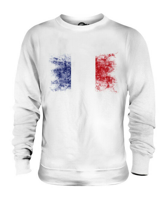 FRANCE DISTRESSED FLAG UNISEX SWEATER TOP FRENCH SHIRT FOOTBALL JERSEY GIFT