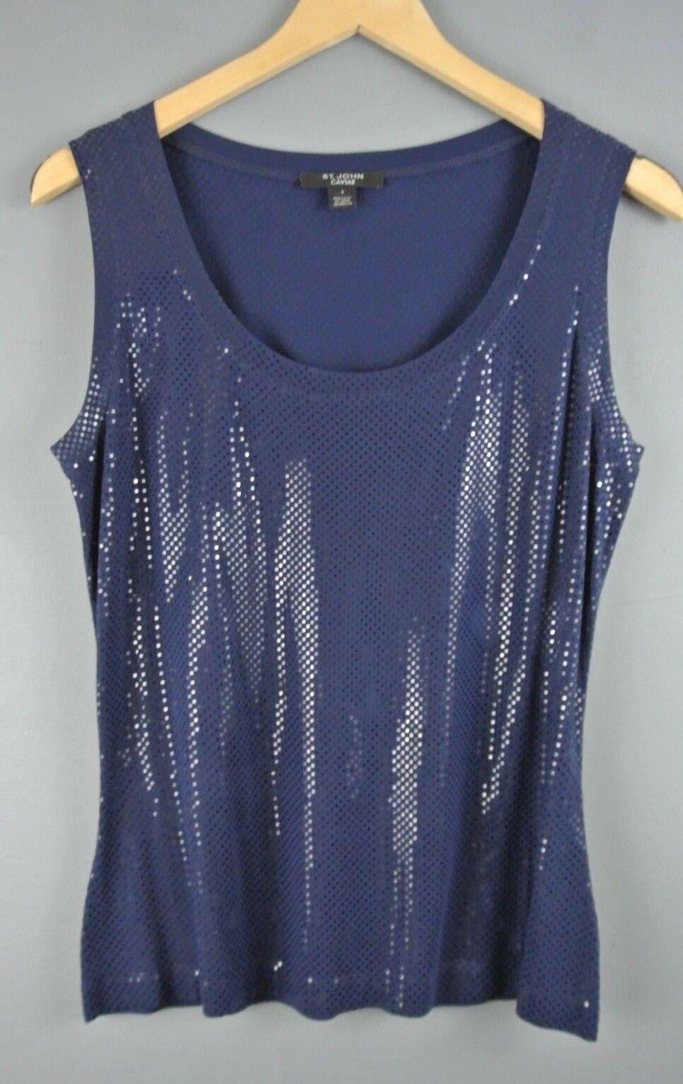 ST JOHN Navy Blau Tank Top Shimmer S Blouse T shirt Formal 1008 Caviar