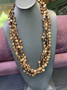 "Vintage Bohemian Briwn Tan Wood Beaded Multi 4 Strand Necklace  26"""