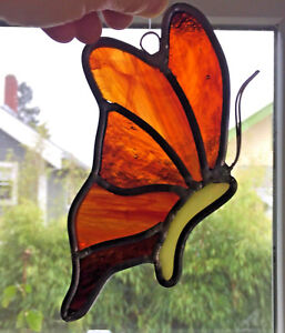 "VINTAGE Leaded Stained Glass Art BUTTERFLY SunCatcher 6.5"" Insect Animal"
