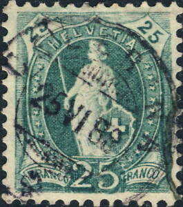 SUISSE-SWITZERLAND-Mi-59A-25c-blue-green-p-11-3-4-1x12-used-CELERINA-1888