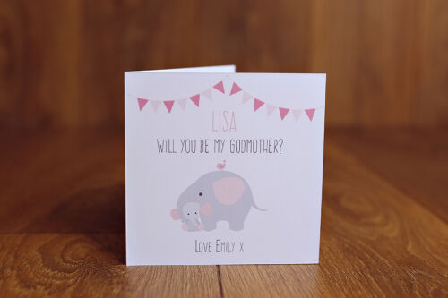 handmade personalised will you be my godparent godmother godfather card