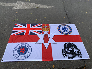 CHELSEA HEADHUNTERS GLASGOW RANGERS LINFIELD 3 X 5FT  FLAG//BANNER ULSTER LOYALIS