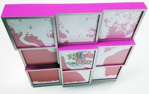 Cadre photo galerie rose pour 9 photos de catégorie B 7,5 x 7,5 cm cadre photo ancien