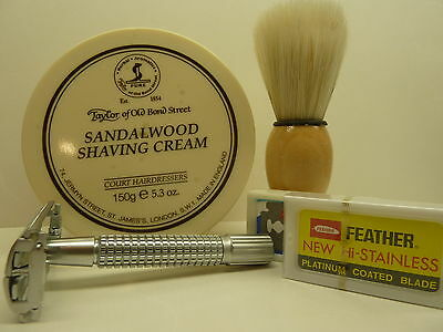TAYLOR OF OLD BOND STREET SHAVING CREAM + SAFETY RAZOR+ BRUSH AND FEATHER BLADES