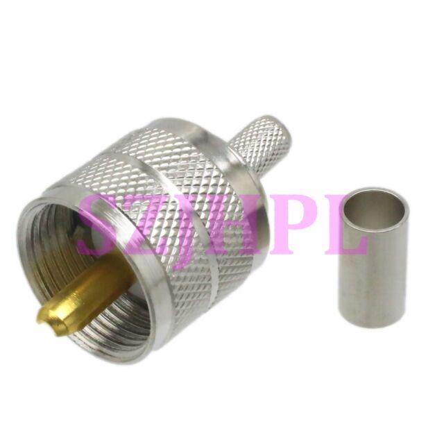 1pce UHF PL259 Male Plug Crimp for RG58 RG142 LMR195 RG400 Cable RF Connector