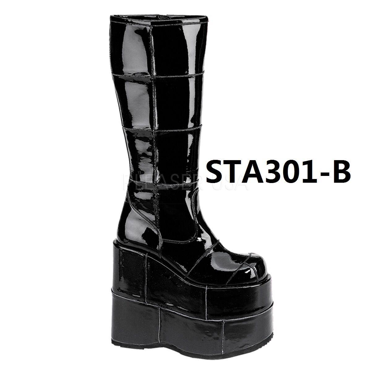 Demonia Stack  301 308 318 para hombres Cyber 7 P/F Gótico Cyber hombres Gogo rodilla botas 729601