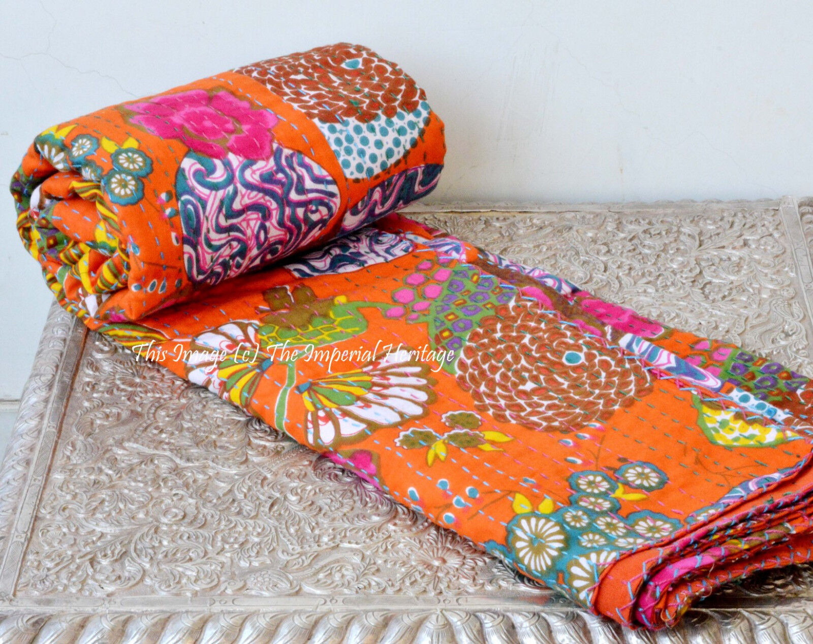 Indian Mandala Cotton Fruit Kantha Quilt Bedspread Twin Bed Cover-Throw 60