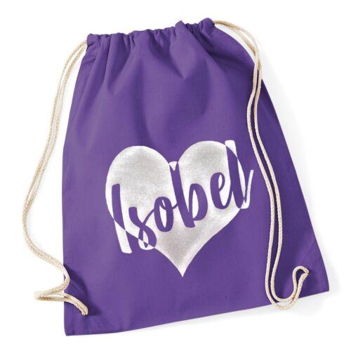 Personalised Glitter Heart Gymsac School Swimming PE Bag Printed Customised Name