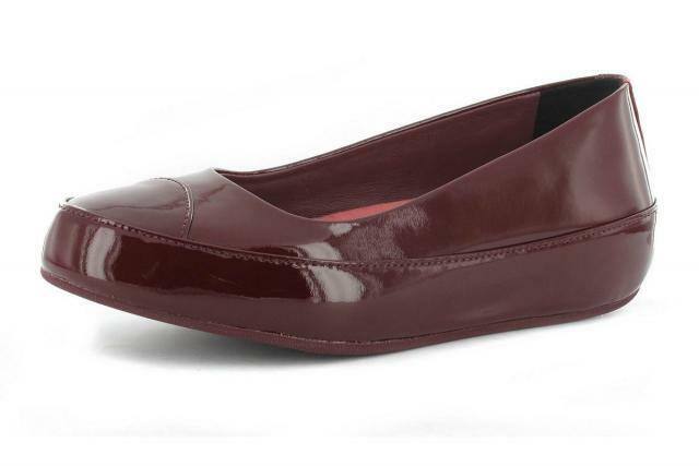 FITFLOP DUE BURGUNDY PATENT LEATHER BALLERINA PUMPS Schuhe UK 8 EUR 42