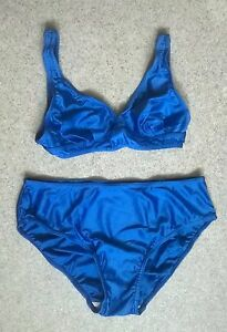 f6bc63b0c1e1b Vintage 80s Bikini Swimsuit Blue Lycra Bathing Suit Two Piece SIZE M ...
