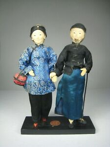 Dolls-Asian-China-Man-Woman-Made-Taiwan-Vintage-Figure-Stand-Size-8-x-5-75-inch