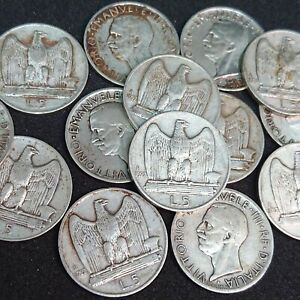 Regno-d-039-Italia-VENTENNIO-FASCISMO-moneta-da-5-lire-in-ARGENTO-039-039-aquilotto-039-039