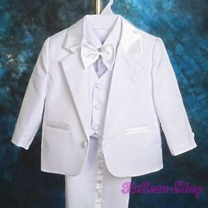 5pcs-Set-Baby-Boys-White-Formal-Suits-Outfits-Christening-Wedding-Sz-3-6M-ST022A