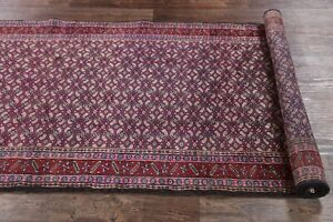 Vintage Geometric All-Over Ardebil Runner Rug Hand-Knotted Blue Stair Rugs 4x10