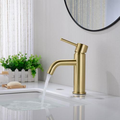 WELS Bathroom Basin Mixer Tap Sink Faucet,Solid Brass Brushed Gold Black