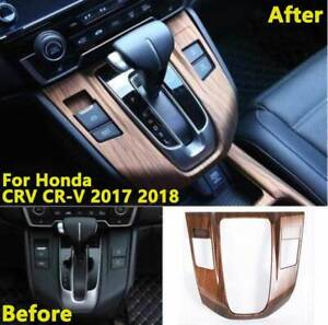 For-Honda-CRV-CR-V-17-2019-Peach-Wood-Grain-Interior-Gear-Shift-Panel-Trim-Cover