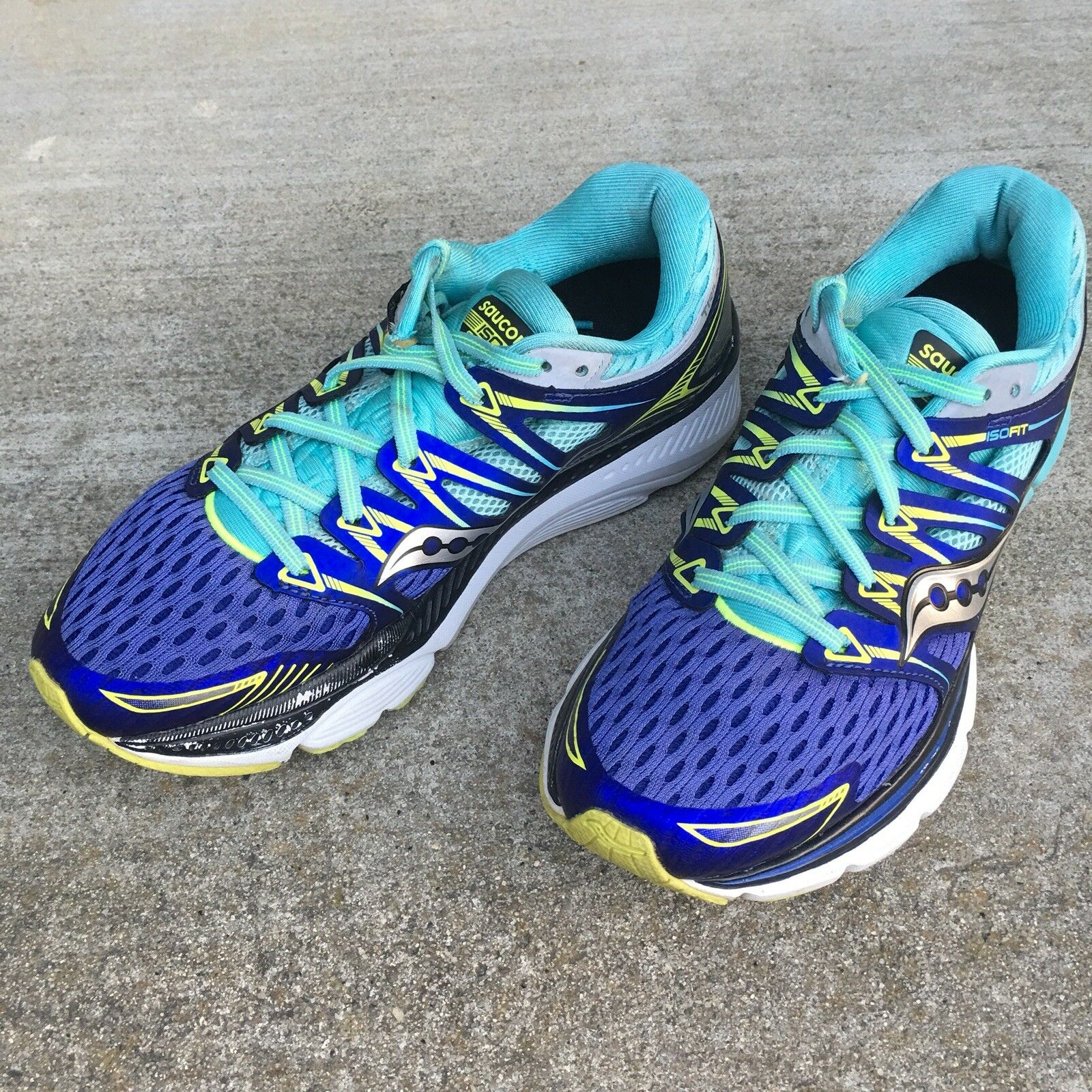 Saucony Everun Triumph ISO Fit bluee Yellow Athletic Running Sneakers shoes Size 7