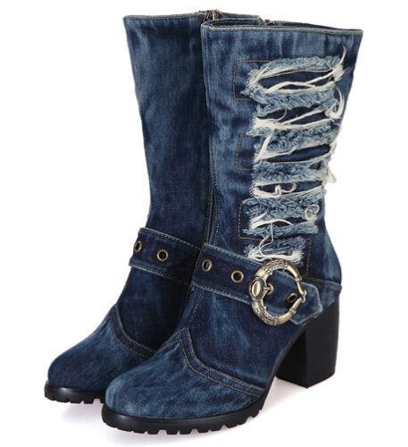 Women Retro Holes Round Toe Denim Chunky Heel Buckles Mid-calf Boots Shoes
