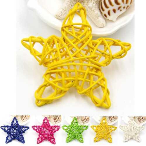 5Pcs 6CM xmas Decorations Ornaments Hanging Christmas Home DIY Rattan Stars