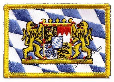 DEUTSCHLAND BAYERN MIT LöWE AUFNÄHER Flaggen Fahnen Patch Aufbügler 8x6cm
