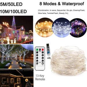 Alambre-de-cobre-5M-10M-50-100Led-USB-luz-de-cadena-de-hadas-Rgb-Con-Control-Remoto-Navidad
