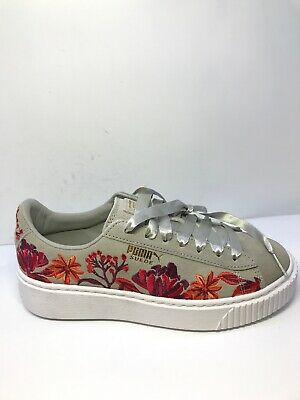 522236bd36726 Puma Womens Floral Suede Embroidered Grey Drizzle Gold Trainers Size UK 4 |  eBay
