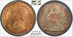 1961-GREAT-BRITAIN-ONE-PENNY-PCGS-MS64RB-COLOR-TONED-COIN-ONLY-2-GRADED-HIGHER