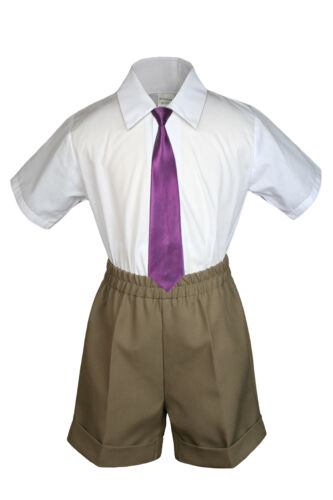 3pc Set Boy Toddler Formal Eggplant Clip on Necktie Black Dark Khaki Shorts S-4T