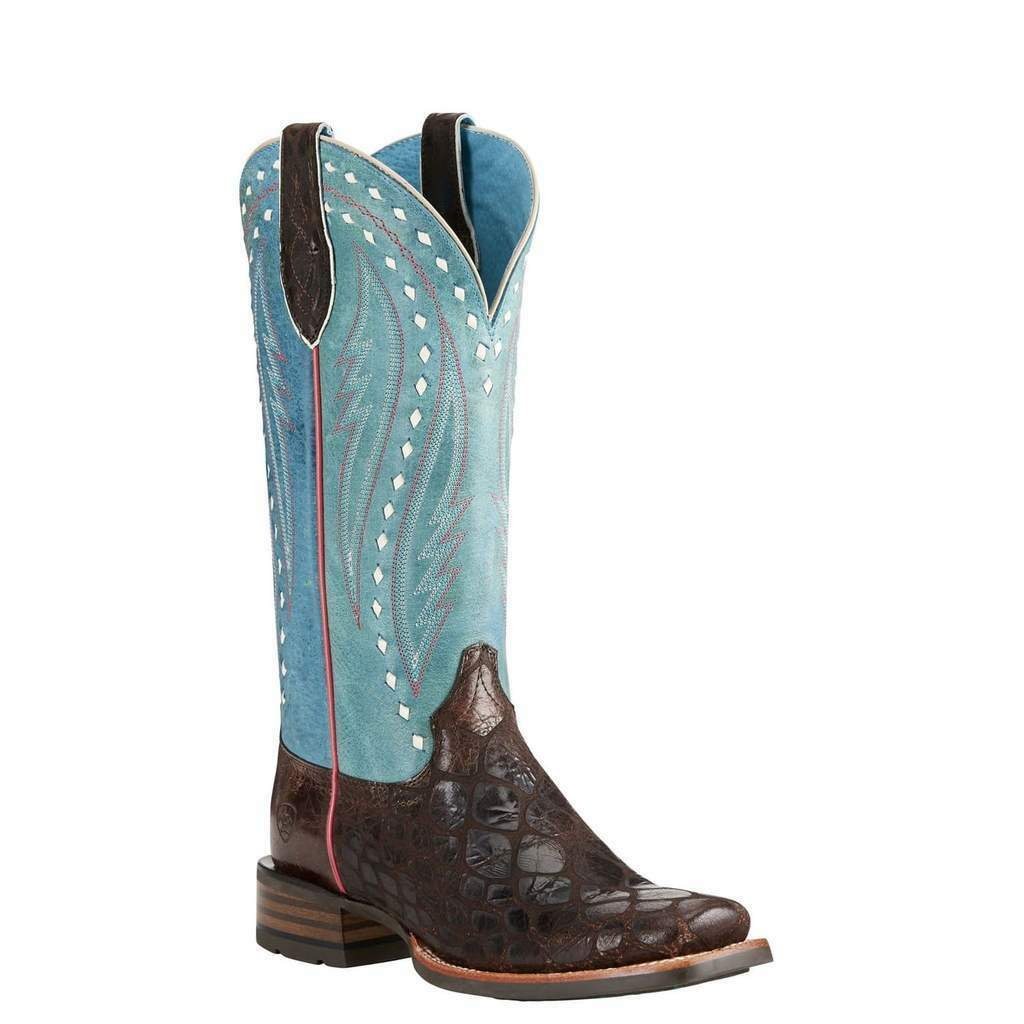 ARIAT Women's Callahan Chocolate Turquoise Square Toe Western Boots 10021665 NIB
