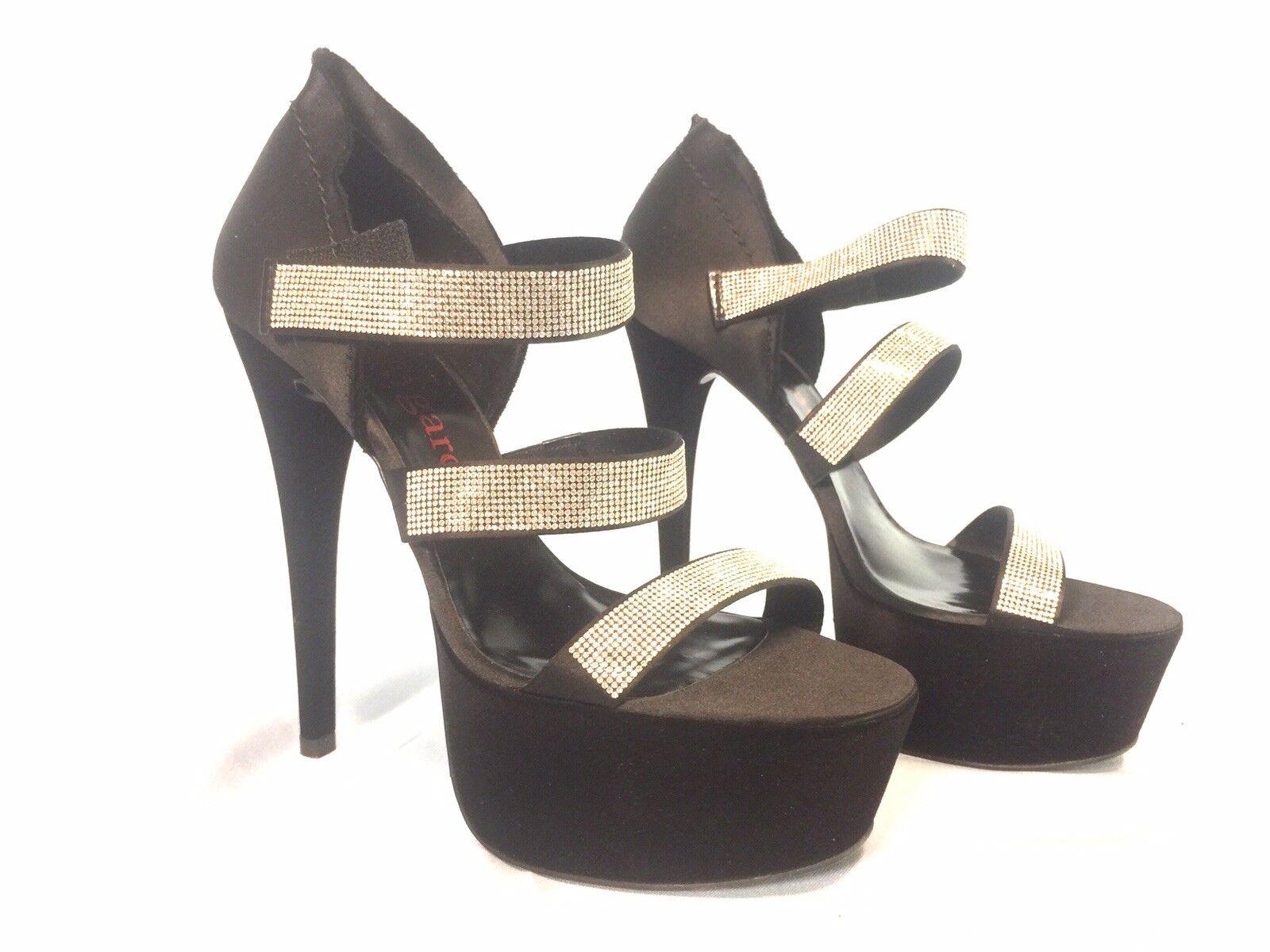 Pedro Garcia Nell Größe 39EU US 9 schwarz velvet Crystal Crystal Crystal Pave Platform Sandals  875 f083ea