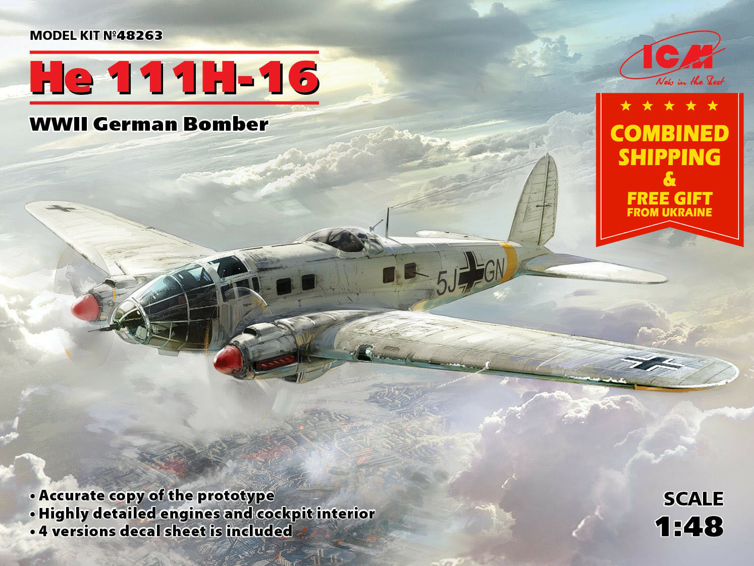 GERMAN BOMBER HE 111H-16, PLASTIC MODEL BUILDING AIRPLANE WWII, 1 48 ICM 48263